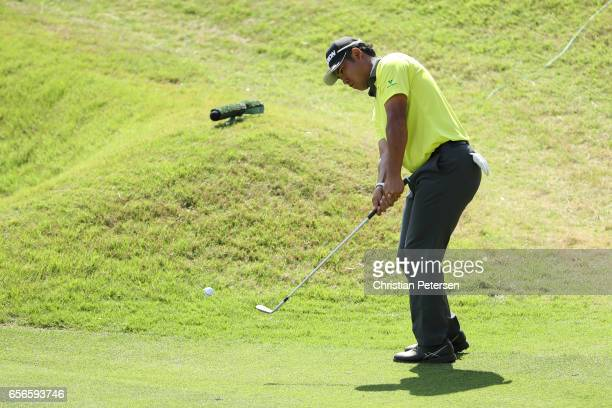 Hideki Matsuyama of Japan plays a shot on the 17th hole of their match during round one of the World Golf ChampionshipsDell Technologies Match Play...