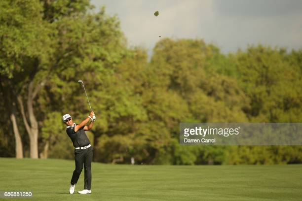 Hideki Matsuyama of Japan plays a shot on the 1st hole of his match during round two of the World Golf ChampionshipsDell Technologies Match Play at...