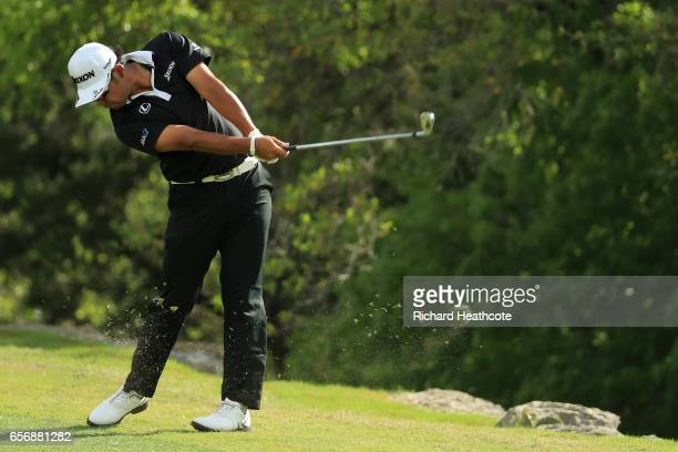 Hideki Matsuyama of Japan plays a shot on the 2nd hole of his match during round two of the World Golf ChampionshipsDell Technologies Match Play at...