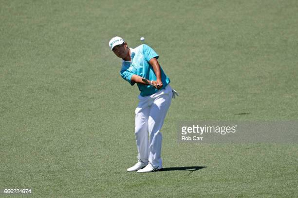 Hideki Matsuyama of Japan plays a shot on the second hole during the third round of the 2017 Masters Tournament at Augusta National Golf Club on...