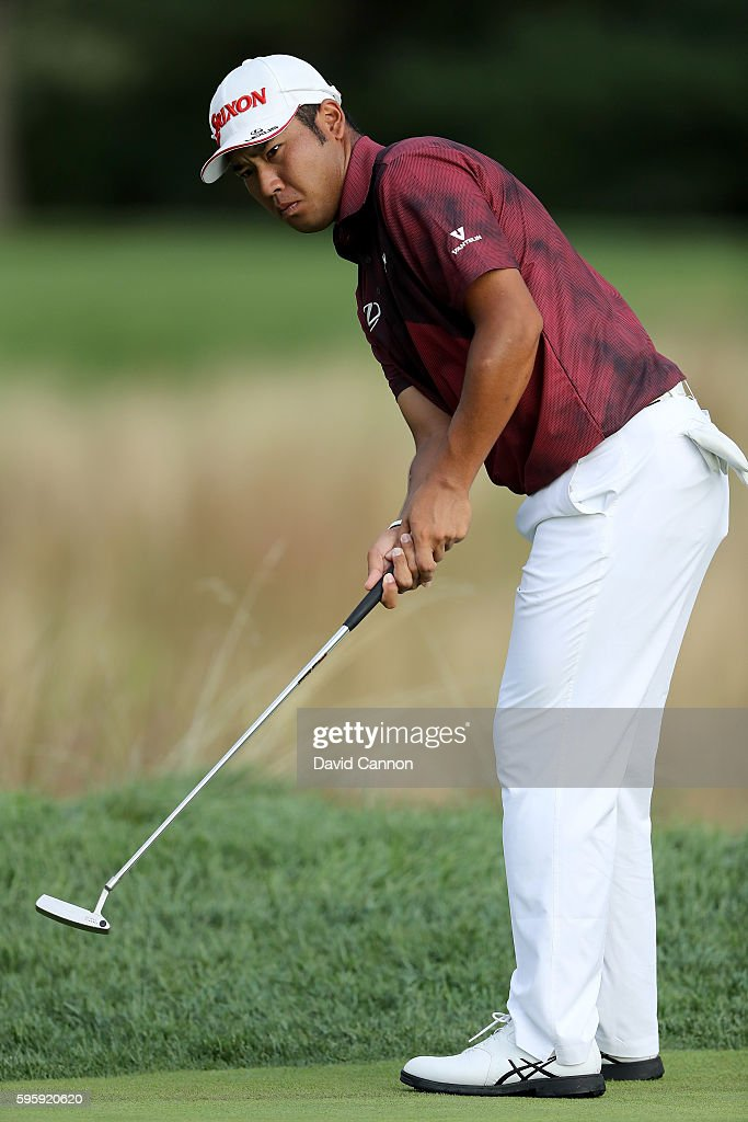 Hideki Matsuyama of Japan plays his fourth shot on the 12th hole during the second round of The Barclays in the PGA Tour FedExCup PlayOffs on the...