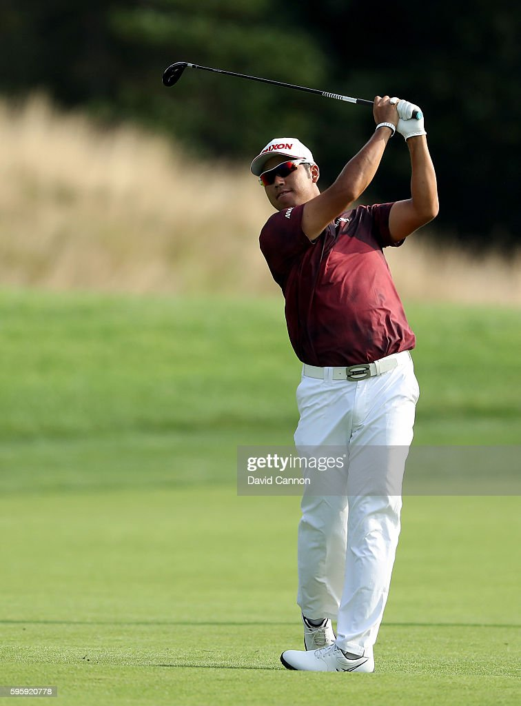 Hideki Matsuyama of Japan plays his second shot on the 12th hole during the second round of The Barclays in the PGA Tour FedExCup PlayOffs on the...