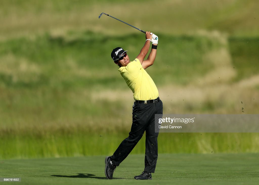 Hideki Matsuyama of Japan plays his second shot on the par 4, 15th hole during the second round of the 117th US Open Championship at Erin Hills on June 16, 2017 in Hartford, Wisconsin.