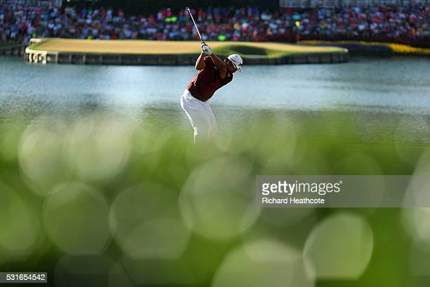 Hideki Matsuyama of Japan plays his shot from the 17th tee during the final round of THE PLAYERS Championship at the Stadium course at TPC Sawgrass...