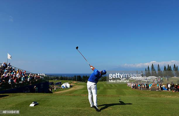 Hideki Matsuyama of Japan plays his shot from the first tee during the final round of the Hyundai Tournament of Champions at Plantation Course at...