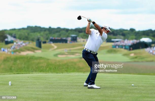 Hideki Matsuyama of Japan plays his shot from the fourth tee during the final round of the 2017 US Open at Erin Hills on June 18 2017 in Hartford...