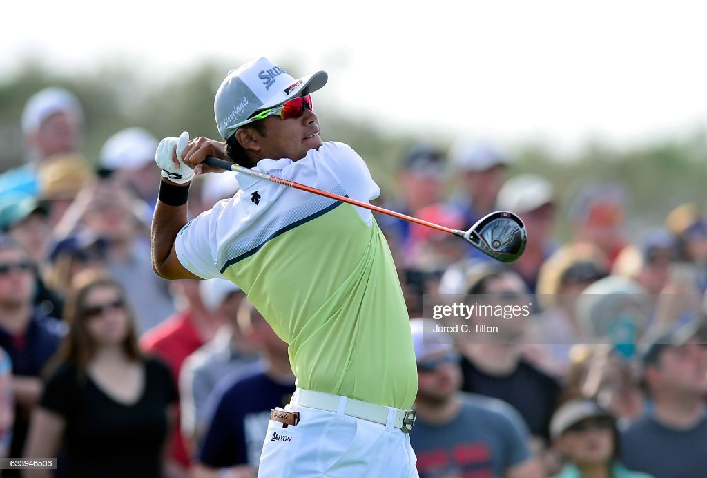 Hideki Matsuyama of Japan plays his tee shot on the 18th hole during the final round of the Waste Management Phoenix Open at TPC Scottsdale on February 5, 2017 in Scottsdale, Arizona.