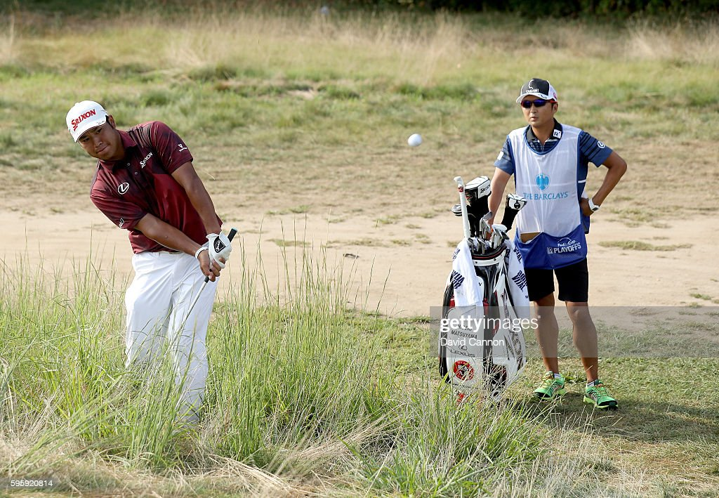 Hideki Matsuyama of Japan plays his third shot on the 12th hole during the second round of The Barclays in the PGA Tour FedExCup PlayOffs on the...