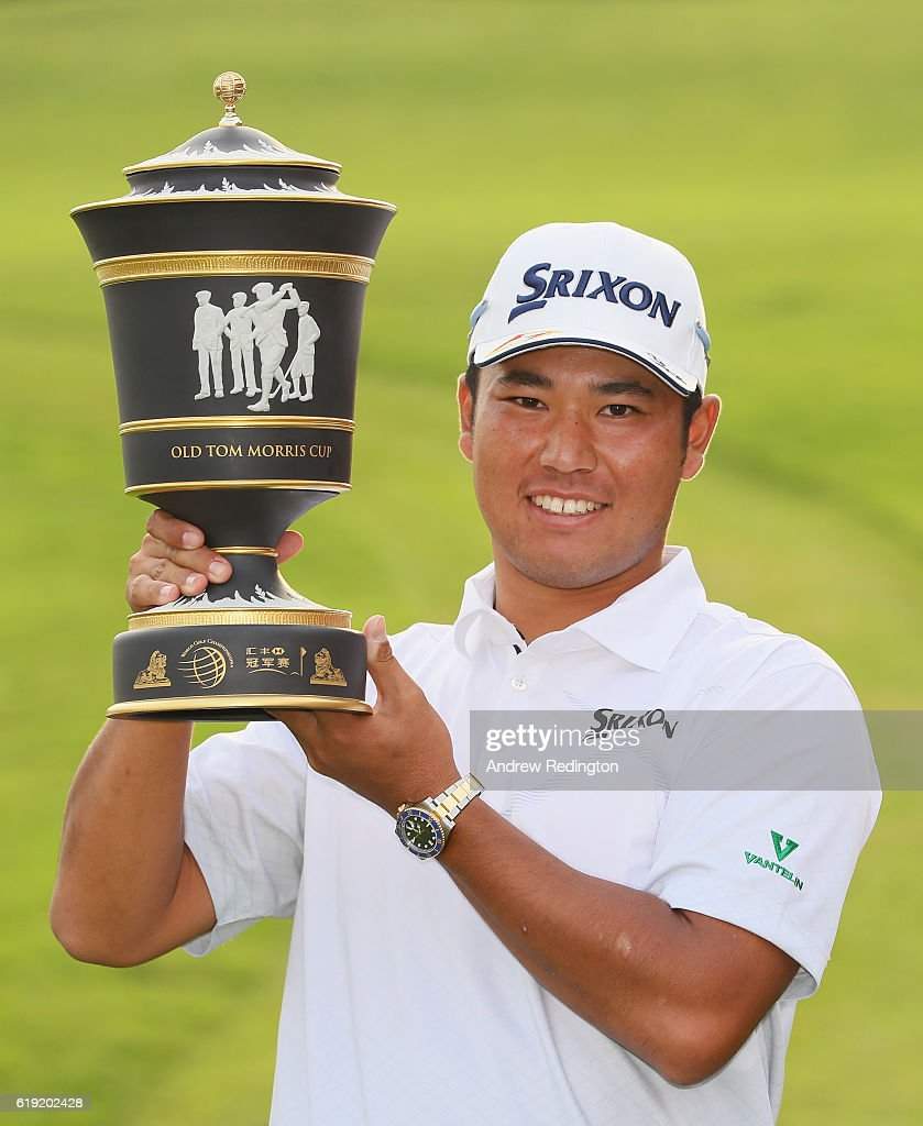 Hideki Matsuyama of Japan poses with the trophy after winning the WGC - HSBC Champions at Sheshan International Golf Club on October 30, 2016 in Shanghai, China.
