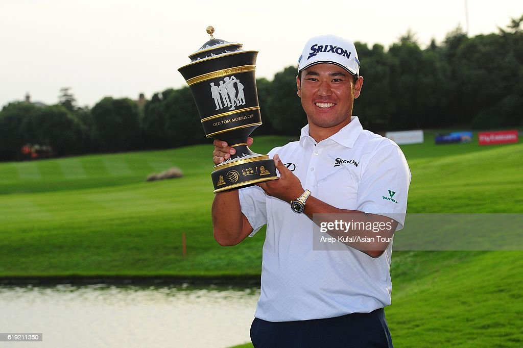 Hideki Matsuyama of Japan poses with the trophy after winning the WGC - HSBC Champions at the Sheshan International Golf Club on October 30, 2016 in Shanghai, China.