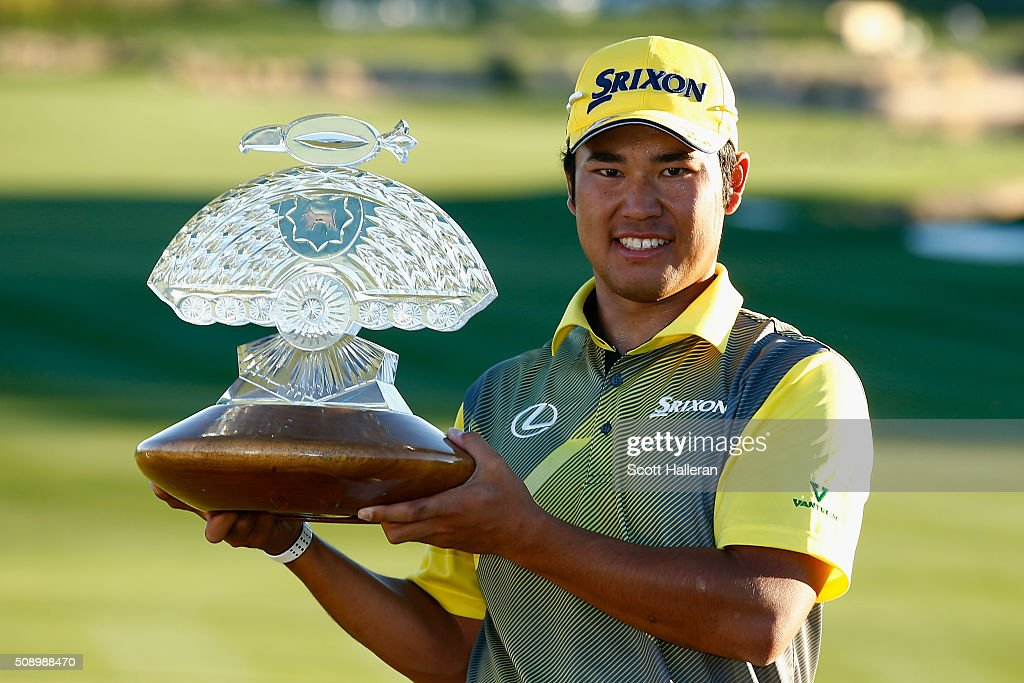<a gi-track='captionPersonalityLinkClicked' href=/galleries/search?phrase=Hideki+Matsuyama&family=editorial&specificpeople=5566852 ng-click='$event.stopPropagation()'>Hideki Matsuyama</a> of Japan poses with the winners trophy on the 18th hole during the final round of the Waste Management Phoenix Open at TPC Scottsdale on February 7, 2016 in Scottsdale, Arizona.