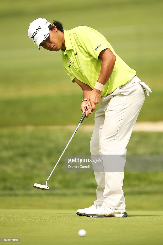 Hideki Matsuyama of Japan putts on the 10th hole during the first round of The Barclays at The Ridgewood Country Club on August 21, 2014 in Paramus, New Jersey.