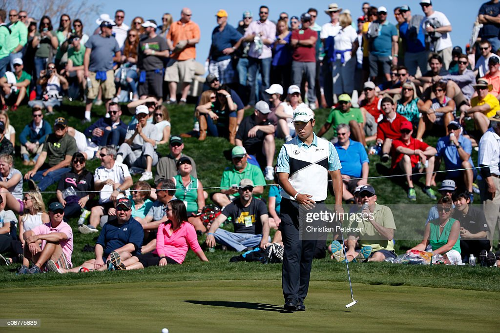 <a gi-track='captionPersonalityLinkClicked' href=/galleries/search?phrase=Hideki+Matsuyama&family=editorial&specificpeople=5566852 ng-click='$event.stopPropagation()'>Hideki Matsuyama</a> of Japan putts on the eighth hole during the third round of the Waste Management Phoenix Open at TPC Scottsdale on February 6, 2016 in Scottsdale, Arizona.