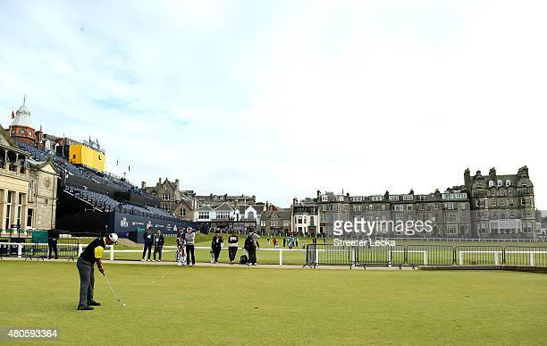 Hideki Matsuyama of Japan putts on the putting green ahead of the 144th Open Championship at The Old Course on July 13 2015 in St Andrews Scotland