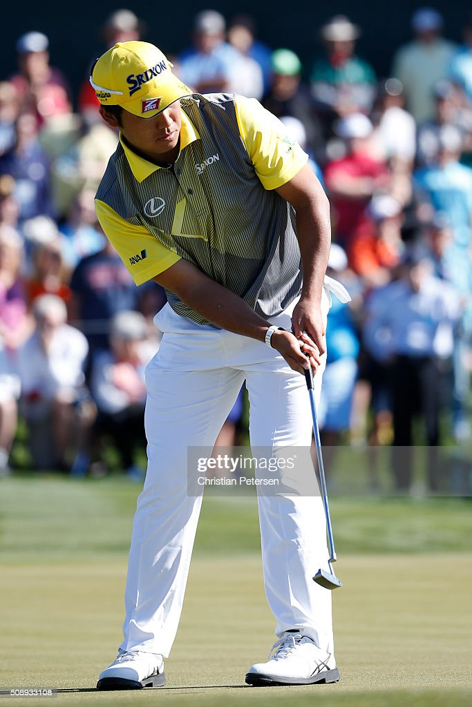 <a gi-track='captionPersonalityLinkClicked' href=/galleries/search?phrase=Hideki+Matsuyama&family=editorial&specificpeople=5566852 ng-click='$event.stopPropagation()'>Hideki Matsuyama</a> of Japan putts on the second hole during the final round of the Waste Management Phoenix Open at TPC Scottsdale on February 7, 2016 in Scottsdale, Arizona.