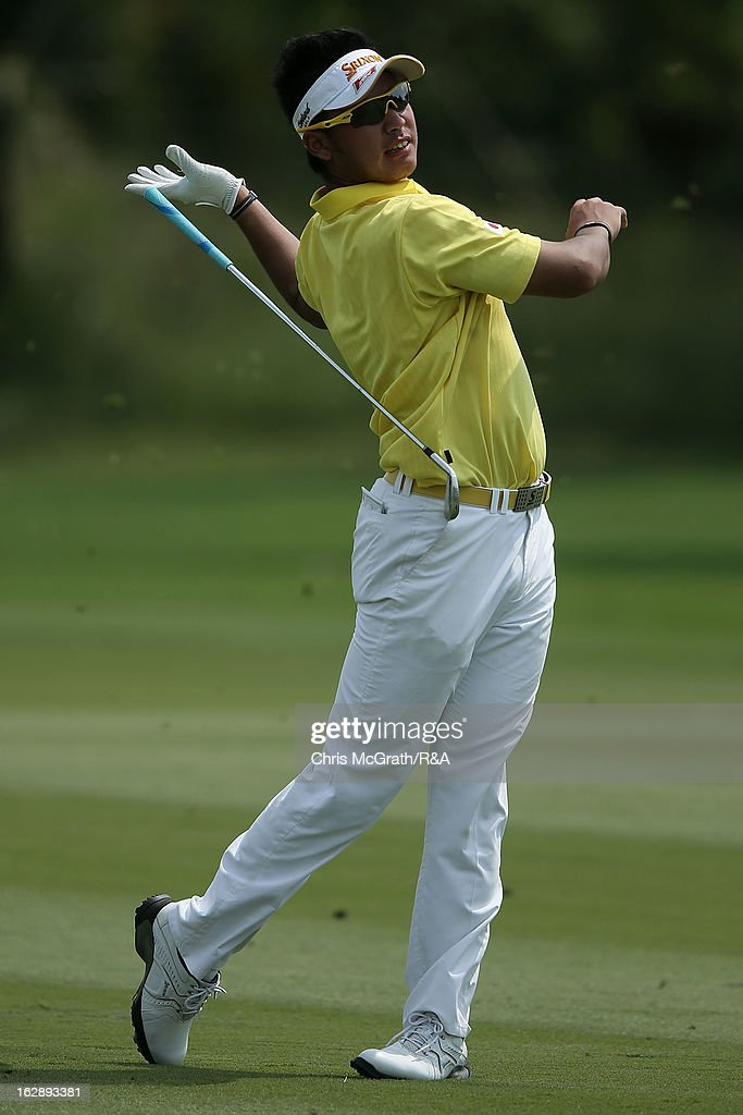 <a gi-track='captionPersonalityLinkClicked' href=/galleries/search?phrase=Hideki+Matsuyama&family=editorial&specificpeople=5566852 ng-click='$event.stopPropagation()'>Hideki Matsuyama</a> of Japan reacts after a bad shot on the 16th hole during round two of The Open Championship International Final Qualifying Asia at Amata Springs Country Club on March 01, 2013 in Bangkok, Thailand.