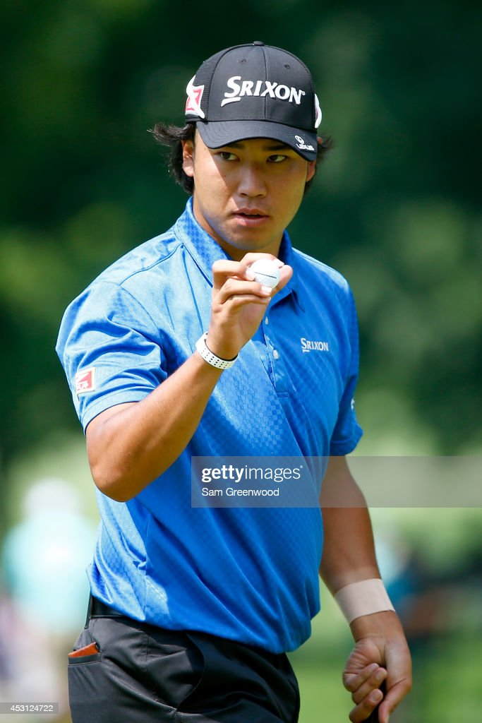 <a gi-track='captionPersonalityLinkClicked' href=/galleries/search?phrase=Hideki+Matsuyama&family=editorial&specificpeople=5566852 ng-click='$event.stopPropagation()'>Hideki Matsuyama</a> of Japan reacts after a putt on the first green during the final round of the World Golf Championships-Bridgestone Invitational at Firestone Country Club South Course on August 3, 2014 in Akron, Ohio.