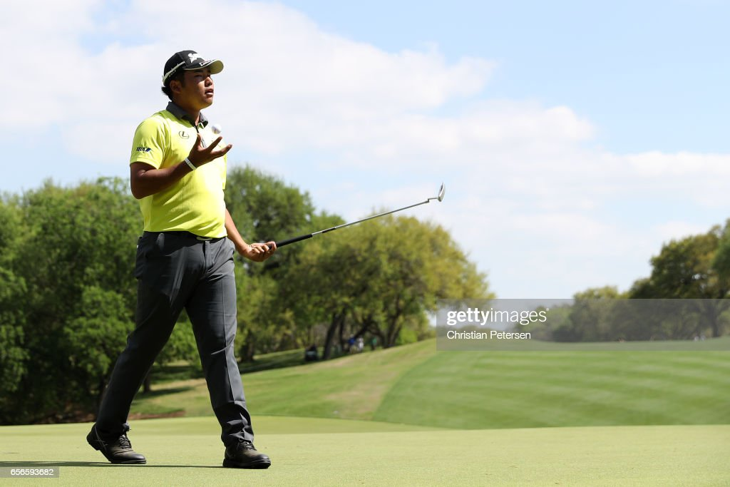 Hideki Matsuyama of Japan reacts after missing a putt on the 18th hole of his match during round one of the World Golf Championships-Dell Technologies Match Play at the Austin Country Club on March 22, 2017 in Austin, Texas.
