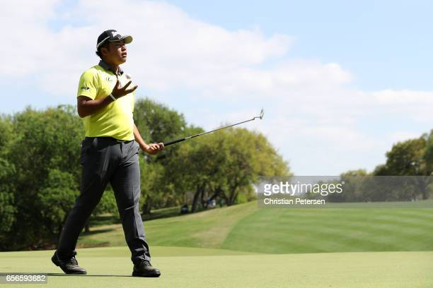 Hideki Matsuyama of Japan reacts after missing a putt on the 18th hole of his match during round one of the World Golf ChampionshipsDell Technologies...