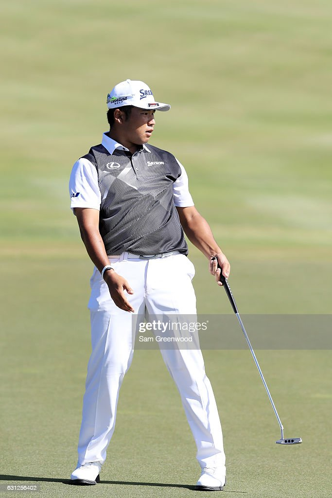 Hideki Matsuyama of Japan reacts on the 12th green during the final round of the SBS Tournament of Champions at the Plantation Course at Kapalua Golf Club on January 8, 2017 in Lahaina, Hawaii.