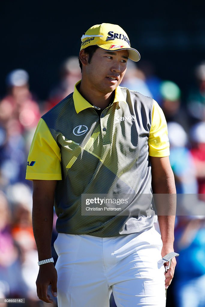 <a gi-track='captionPersonalityLinkClicked' href=/galleries/search?phrase=Hideki+Matsuyama&family=editorial&specificpeople=5566852 ng-click='$event.stopPropagation()'>Hideki Matsuyama</a> of Japan reacts to his putt on the second hole during the final round of the Waste Management Phoenix Open at TPC Scottsdale on February 7, 2016 in Scottsdale, Arizona.