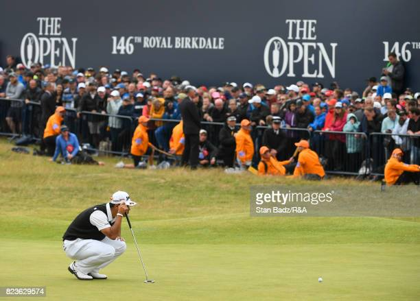 Hideki Matsuyama of Japan studies his putt on the 18th green during the final round of the 146th Open Championship at Royal Birkdale on July 23 2017...