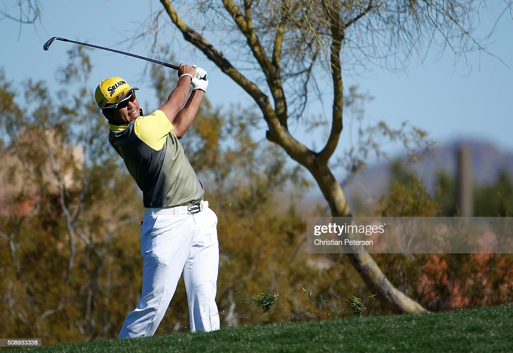 <a gi-track='captionPersonalityLinkClicked' href=/galleries/search?phrase=Hideki+Matsuyama&family=editorial&specificpeople=5566852 ng-click='$event.stopPropagation()'>Hideki Matsuyama</a> of Japan takes his second shot on the second hole during the final round of the Waste Management Phoenix Open at TPC Scottsdale on February 7, 2016 in Scottsdale, Arizona.