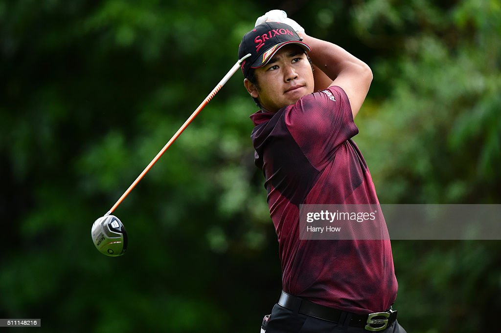 Hideki Matsuyama of Japan tees off on the 12th hole during round one of the Northern Trust Open at Riviera Country Club on February 18 2016 in...