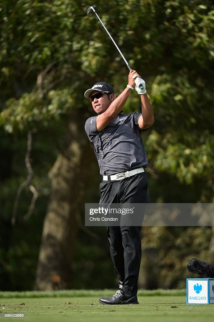 Hideki Matsuyama of Japan tees off on the 14th hole during the first round of The Barclays at Bethpage State Park on August 25 2016 in Farmingdale...