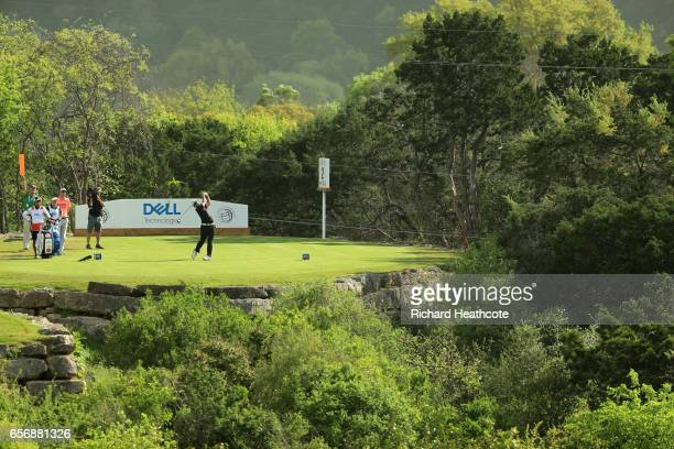 Hideki Matsuyama of Japan tees off on the 2nd hole of his match during round two of the World Golf ChampionshipsDell Technologies Match Play at the...
