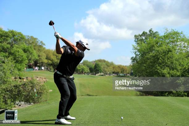 Hideki Matsuyama of Japan tees off on the 5th hole of his match during round two of the World Golf ChampionshipsDell Technologies Match Play at the...