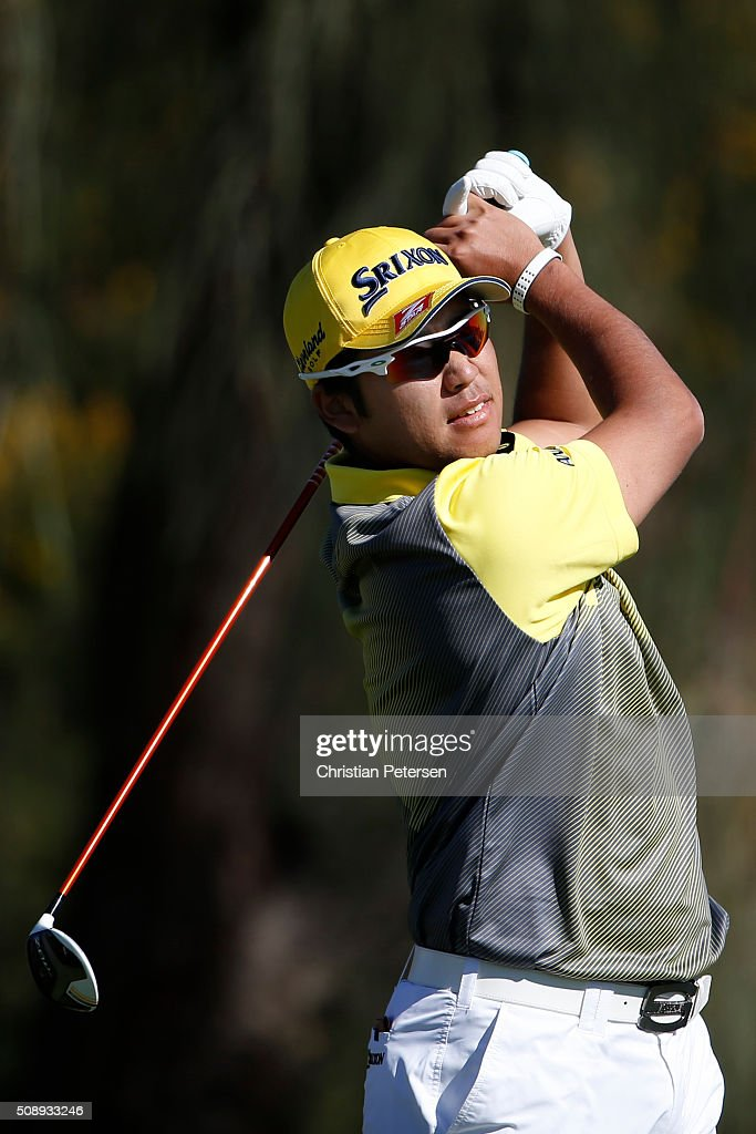 <a gi-track='captionPersonalityLinkClicked' href=/galleries/search?phrase=Hideki+Matsuyama&family=editorial&specificpeople=5566852 ng-click='$event.stopPropagation()'>Hideki Matsuyama</a> of Japan tees off on the second hole during the final round of the Waste Management Phoenix Open at TPC Scottsdale on February 7, 2016 in Scottsdale, Arizona.