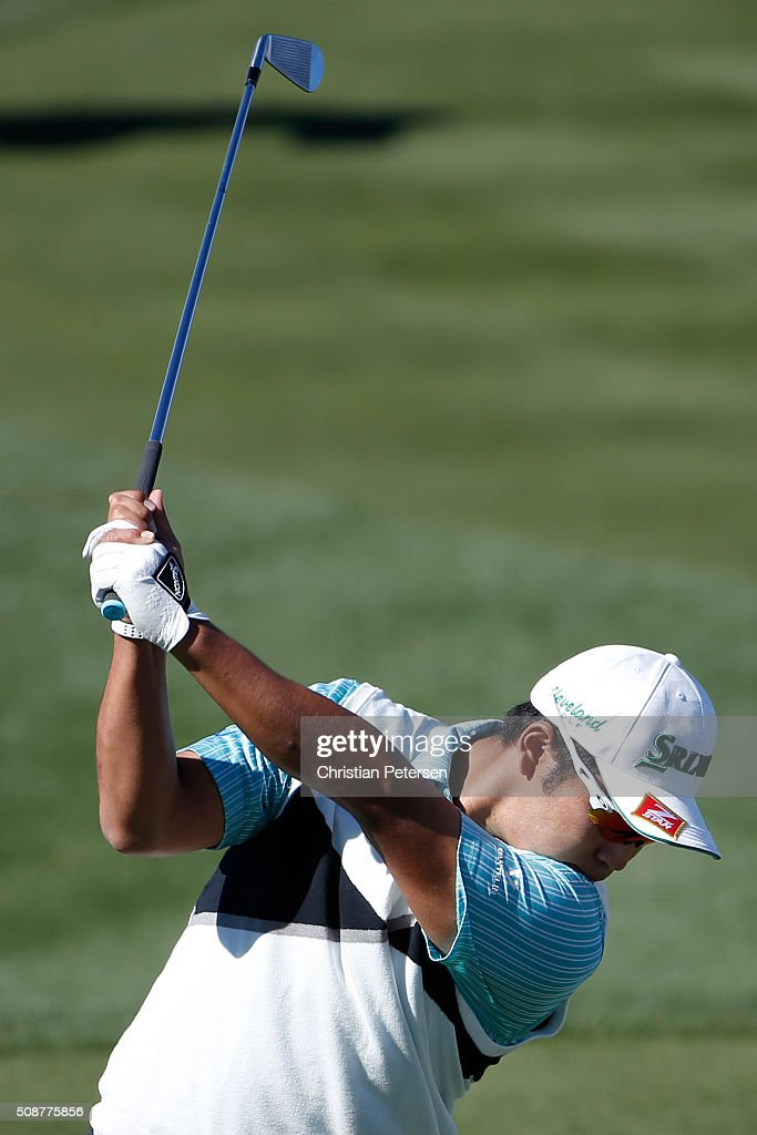 <a gi-track='captionPersonalityLinkClicked' href=/galleries/search?phrase=Hideki+Matsuyama&family=editorial&specificpeople=5566852 ng-click='$event.stopPropagation()'>Hideki Matsuyama</a> of Japan tees off on the seventh hole during the third round of the Waste Management Phoenix Open at TPC Scottsdale on February 6, 2016 in Scottsdale, Arizona.