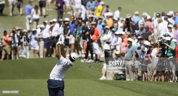 Hideki Matsuyama of Japan tees off on the third hole during the final round of the Masters Tournament at Augusta National Golf Club on April 9 2017...