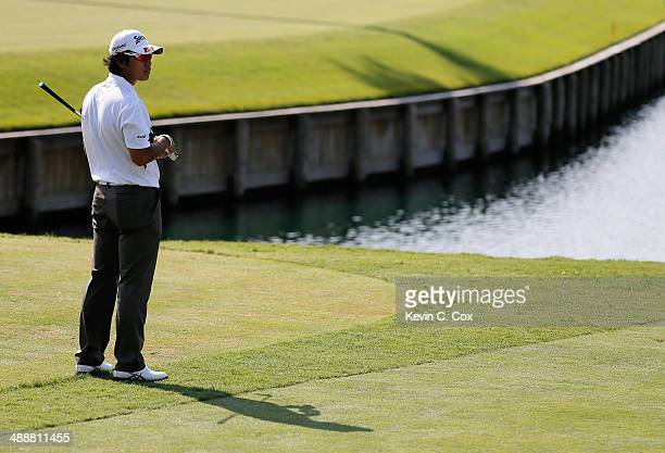 Hideki Matsuyama of Japan waits on the 17th tee during the first round of THE PLAYERS Championship on The Stadium Course at TPC Sawgrass on May 8...
