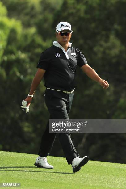 Hideki Matsuyama of Japan walks on the 2nd hole of his match during round two of the World Golf ChampionshipsDell Technologies Match Play at the...