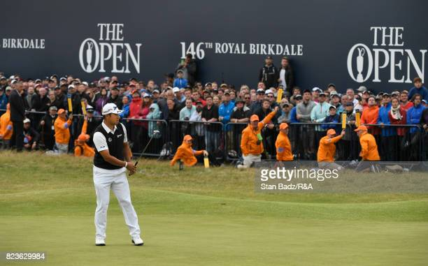 Hideki Matsuyama of Japan watches his putt on the 18th green during the final round of the 146th Open Championship at Royal Birkdale on July 23 2017...