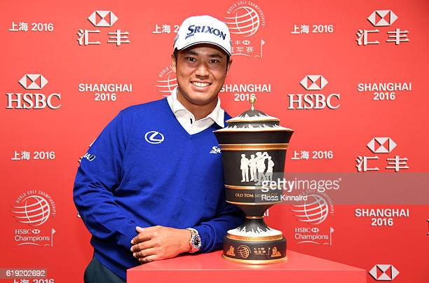 Hideki Matsuyama of Japan with the winners trophy after the final round of the WGC HSBC Champions at the Sheshan International Golf Club on October...
