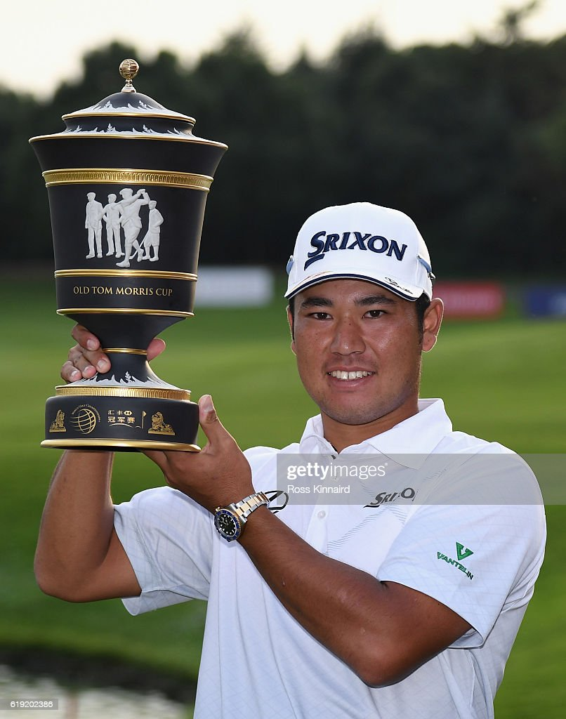 Hideki Matsuyama of Japan with the winners trophy the final round of the WGC - HSBC Champions at the Sheshan International Golf Club on October 30, 2016 in Shanghai, China.