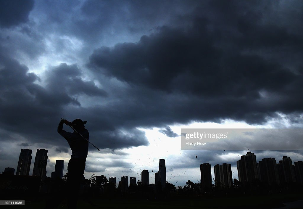 Hideki Matsuyama of the International Team hits a tee shot on the 13th hole during the Saturday fourball matches at The Presidents Cup at Jack...
