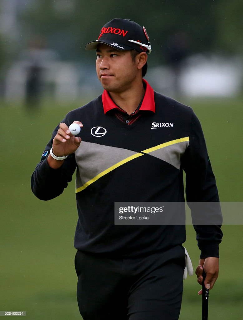 <a gi-track='captionPersonalityLinkClicked' href=/galleries/search?phrase=Hideki+Matsuyama&family=editorial&specificpeople=5566852 ng-click='$event.stopPropagation()'>Hideki Matsuyama</a> reacts after a putt on the 11th hole during the first round of the 2016 Wells Fargo Championship at Quail Hollow Club on May 5, 2016 in Charlotte, North Carolina.