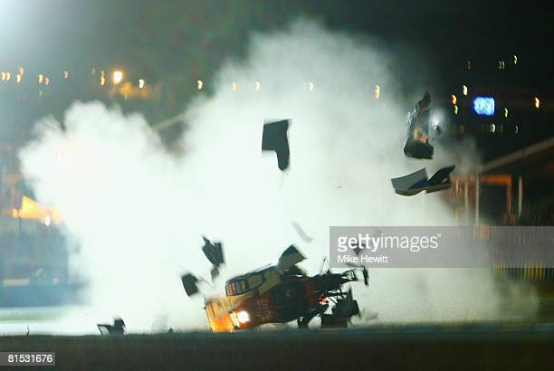 Hideki Noda of Japan crashes in the Kruse Shiller Motorsport LolaMazda during qualifying for the 76th running of the Le Mans 24 Hour race at the...