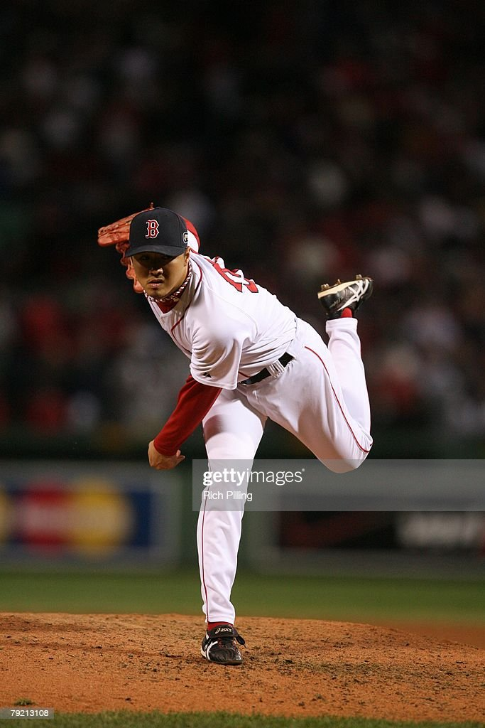 Hideki Okajima of the Boston Red Sox pitches during Game Two of the 2007 World Series against the Colorado Rockies on October 25, 2007 at Fenway Park in Boston, Massachusetts. The Red Sox defeated the Rockies 2-1.