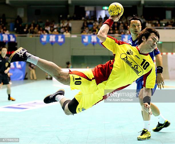 Hidenori Kishigawa of Daido Steel shoots at goal during the Handball Japan League playoff Final match between Daido Steel and Toyota Auto Body at...