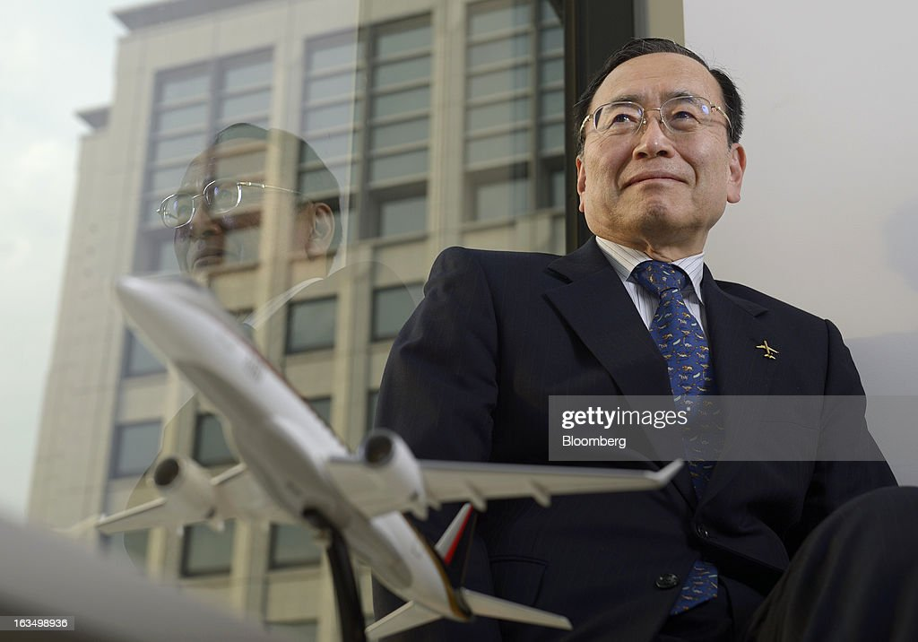 Hideo Egawa, chairman and chief executive officer of Mitsubishi Aircraft Corp., poses for a photograph in Tokyo, Japan, on Friday, March 8, 2013. Mitsubishi Heavy Industries Ltd.'s aircraft unit is set to reap the benefits of a weakening yen after securing more than $4 billion of contracts for a new jet when the currency was near a record high against the dollar. Photographer: Akio Kon/Bloomberg via Getty Images