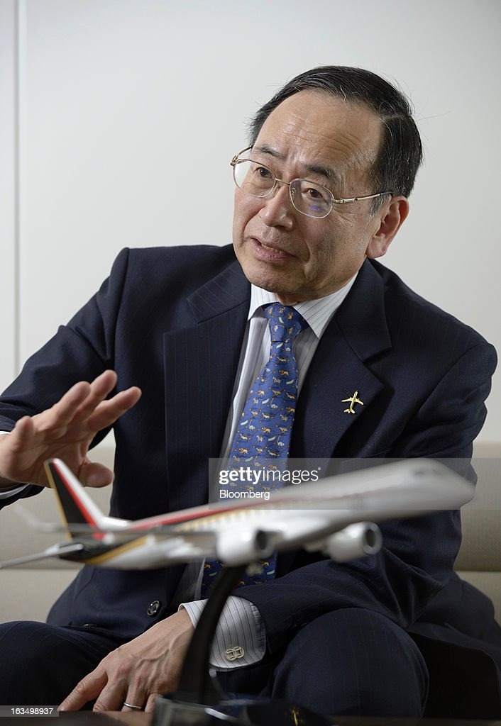 Hideo Egawa, chairman and chief executive officer of Mitsubishi Aircraft Corp., speaks during an interview in Tokyo, Japan, on Friday, March 8, 2013. Mitsubishi Heavy Industries Ltd.'s aircraft unit is set to reap the benefits of a weakening yen after securing more than $4 billion of contracts for a new jet when the currency was near a record high against the dollar. Photographer: Akio Kon/Bloomberg via Getty Images