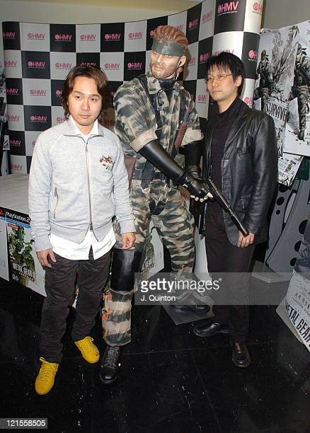 Hideo Kojima and guest during Hideo Kojima Launches 'Metal Gear Solid 3 Snake Eater' at HMV Oxford Street in London Great Britain