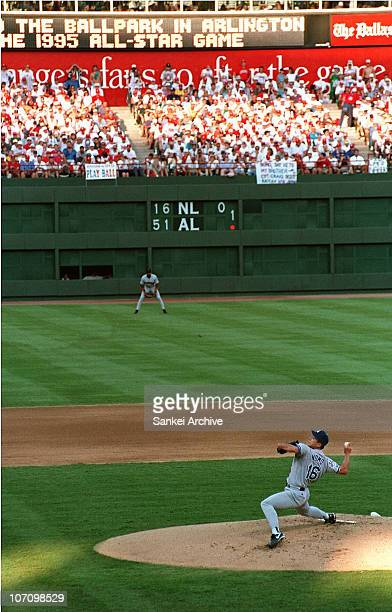 Hideo Nomo of Los Angeles Dodgers pitches during the MLB AllStar Game at the Ballpark in Arlington on July 11 1995 in Arlington Texas