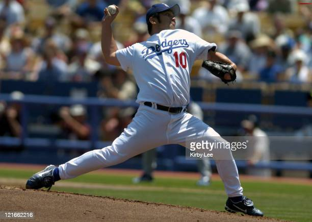 Hideo Nomo of the Los Angeles Dodgers at Dodger Stadium in Los Angeles May 13 2004
