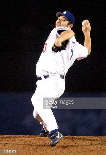 Hideo Nomo of the Los Angeles Dodgers pitches against the San Francisco Giants on Saturday Sept 20 2003 at Dodger Stadium